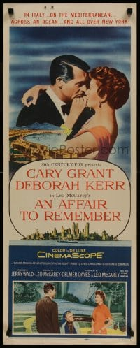 9k035 AFFAIR TO REMEMBER insert 1957 romantic close up of Cary Grant & Deborah Kerr, Leo McCarey!