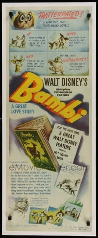 9k030 BAMBI insert 1942 Disney classic, famous best-selling book now on the screen, ultra rare!