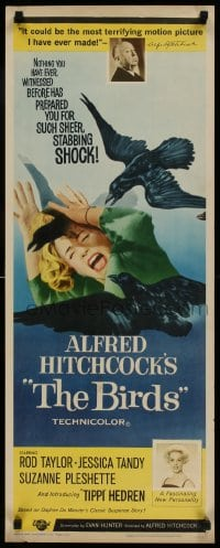 9k036 BIRDS insert 1963 Alfred Hitchcock shown, introducing Tippi Hedren, classic attack art!