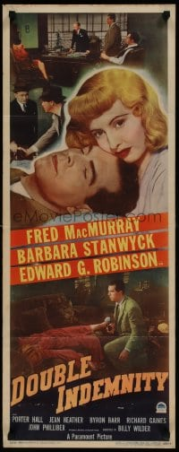 9k039 DOUBLE INDEMNITY insert 1944 Billy Wilder, fantastic image of Barbara Stanwyck & MacMurray!
