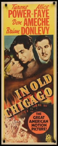 9k031 IN OLD CHICAGO insert R1943 art of Tyrone Power, beautiful Alice Faye & Don Ameche, rare!