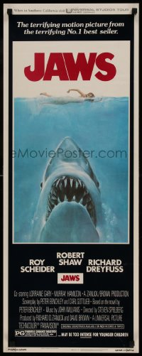 9k042 JAWS insert 1975 art of Steven Spielberg's classic man-eating shark attacking sexy swimmer!