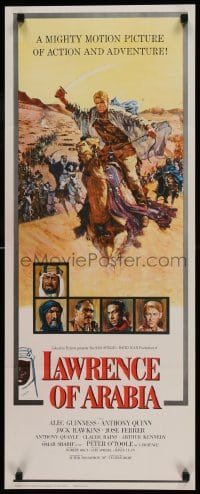 9k043 LAWRENCE OF ARABIA pre-awards insert 1962 David Lean, art of Peter O'Toole on camel, rare!