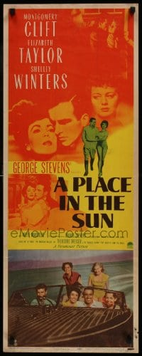 9k045 PLACE IN THE SUN insert 1951 Montgomery Clift, sexy Elizabeth Taylor, Shelley Winters