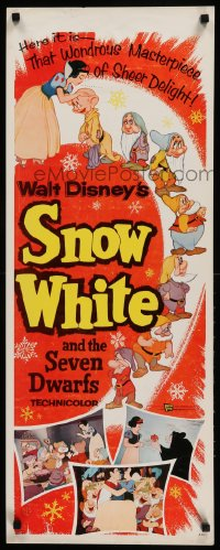9k049 SNOW WHITE & THE SEVEN DWARFS insert R1958 Walt Disney animated cartoon fantasy classic!