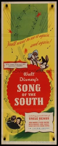 9k050 SONG OF THE SOUTH insert 1946 Walt Disney, Uncle Remus, Br'er Rabbit & Br'er Bear!
