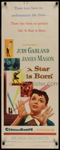 9k051 STAR IS BORN insert 1954 great close up art of Judy Garland, James Mason, classic!