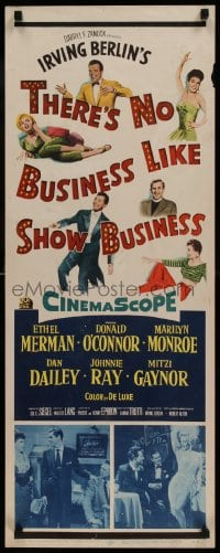 9k052 THERE'S NO BUSINESS LIKE SHOW BUSINESS insert 1954 art & photo of Marilyn Monroe + top cast!