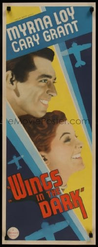 9k034 WINGS IN THE DARK insert 1934 profile of Cary Grant & Myrna Loy + airplane art, ultra rare!