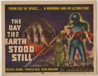 9k118 DAY THE EARTH STOOD STILL TC 1951 classic art of Gort holding Patricia Neal, Michael Rennie!