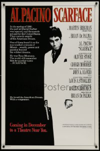 9k077 SCARFACE advance 1sh 1983 Al Pacino with gun, De Palma, Oliver Stone, rare December version!
