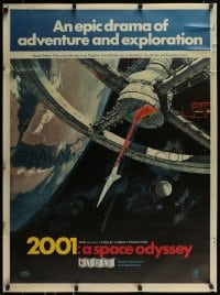 9k018 2001: A SPACE ODYSSEY Cinerama 30x40 special acetate poster 1968 w/ red coloring, ultra rare!