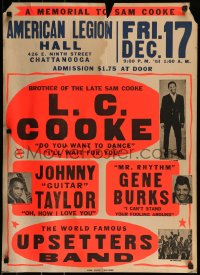 9k022 MEMORIAL TO SAM COOKE 22x31 music poster 1965 tribute show headlined by his brother, rare!