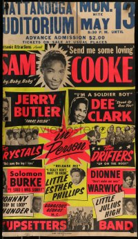 9k023 SAM COOKE day-glo 20x34 music poster 1963 performing with Dionne Warwick, Dee Clark & more!