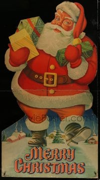 9k016 MERRY CHRISTMAS die-cut 33x60 standee 1950s art of Santa carrying presents from the North Pole!