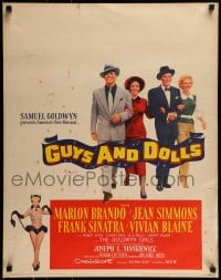 9k024 GUYS & DOLLS jumbo WC 1955 Brando, Simmons, Frank Sinatra & Blaine shown twice, ultra rare!