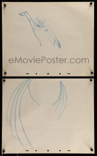 9m086 FANTASIA group of 3 13x16 animation drawings 1991 Bob Tytla, Chernabog based on Bela Lugosi!