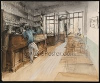 9m029 ALEXANDRE TRAUNER 15x18 watercolor/ink drawing 1941 cool bar scene sketch from Remorques!