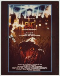 9m005 E.T. THE EXTRA TERRESTRIAL 9x14 mock up poster E 1982 rejected c/u of alien in grass art!
