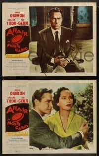 9r033 AFFAIR IN MONTE CARLO 8 LCs 1953 great images of sexy Merle Oberon, Richard Todd!