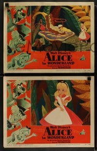 9r036 ALICE IN WONDERLAND 8 LCs 1951 cool images from Walt Disney Lewis Carroll classic!