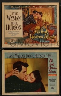 9r038 ALL THAT HEAVEN ALLOWS 8 LCs 1955 Rock Hudson & Jane Wyman, directed by Douglas Sirk!