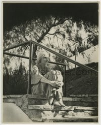 9x008 ANN HARDING deluxe 11x13.75 still 1930s seated portrait on stairs outdoors by Russell Ball!