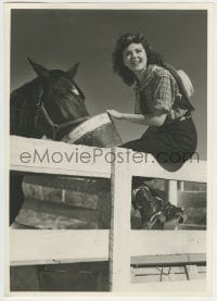 9x014 ANN RUTHERFORD deluxe 9.25x13 still 1940s sitting on fence & feeding horse in cowgirl outfit!