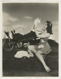 9x011 ANN RUTHERFORD deluxe 10x13 still 1940s in skimpy Easter outfit playing with bunnies!