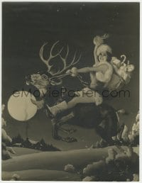 9x015 ANN SHERIDAN deluxe 10.25x13.25 still 1930s wonderful art in sexy Xmas suit riding reindeer!