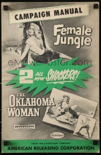 9x816 OKLAHOMA WOMAN/FEMALE JUNGLE pressbook 1956 AIP double-bill sex shockers!