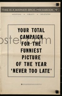 9x805 NEVER TOO LATE pressbook 1965 Paul Ford, Connie Stevens, Maureen O'Sullivan