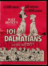 9x822 ONE HUNDRED & ONE DALMATIANS pressbook R1970 classic Disney cartoon, different images!