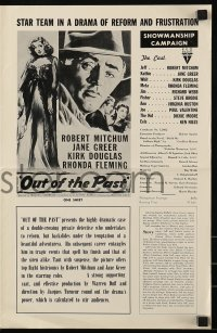 9x826 OUT OF THE PAST pressbook R1957 Robert Mitchum & Jane Greer in love triangle!
