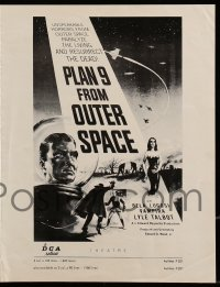 9x840 PLAN 9 FROM OUTER SPACE pressbook 1958 directed by Ed Wood, arguably the worst movie ever!