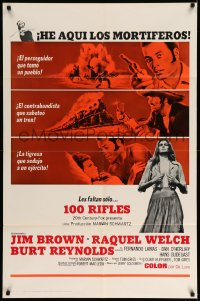 9y005 100 RIFLES Spanish/US 1sh 1969 Jim Brown, Raquel Welch & Burt Reynolds!