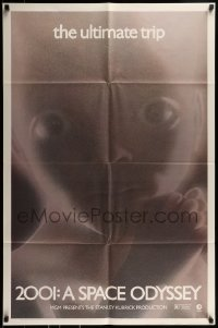 9y008 2001: A SPACE ODYSSEY 1sh R1974 Stanley Kubrick, image of star child, thin border design!
