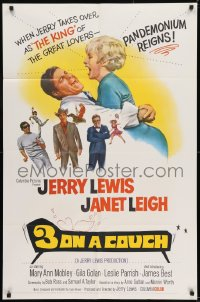 9y009 3 ON A COUCH 1sh 1966 great image of screwy Jerry Lewis squeezing sexy Janet Leigh!