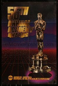 9y001 55TH ANNUAL ACADEMY AWARDS 1sh 1983 cool image of the golden Oscar statuette over city!