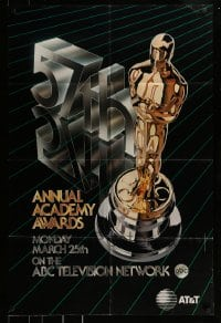 9y002 57th ANNUAL ACADEMY AWARDS 1sh 1985 cool artwork of Oscar statue!