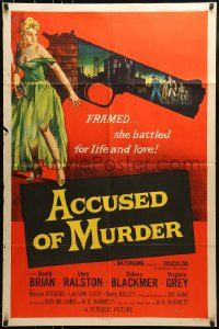 9y015 ACCUSED OF MURDER 1sh 1957 cool sexy girl and gun noir image, she battled for life & love!