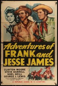 9y017 ADVENTURES OF FRANK & JESSE JAMES 1sh R1956 Clayton Moore, Steve Darrell, western serial!