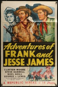 9y016 ADVENTURES OF FRANK & JESSE JAMES 1sh 1948 Clayton Moore, Steve Darrell, western serial!