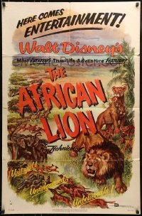 9y018 AFRICAN LION 1sh 1955 Walt Disney jungle safari documentary, cool animal artwork!