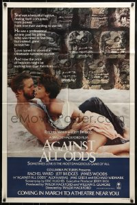 9y019 AGAINST ALL ODDS advance 1sh 1984 Jeff Bridges makes out with Rachel Ward on the beach!