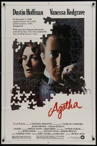 9y020 AGATHA 1sh 1979 cool puzzle art of Dustin Hoffman & Vanessa Redgrave as Christie!