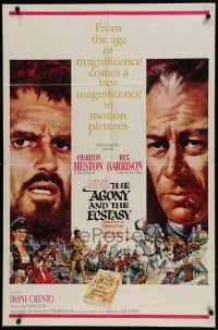 9y021 AGONY & THE ECSTASY roadshow 1sh 1965 Terpning art of Charlton Heston & Rex Harrison!