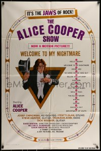 9y023 ALICE COOPER: WELCOME TO MY NIGHTMARE 1sh 1975 JAWS of rock, art of Alice Cooper by Struzan!