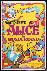9y025 ALICE IN WONDERLAND 1sh R1974 Walt Disney, Lewis Carroll classic, cool psychedelic art!