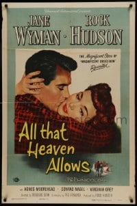 9y030 ALL THAT HEAVEN ALLOWS 1sh 1955 close up romantic art of Rock Hudson kissing Jane Wyman!